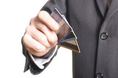 Men's hand with credit card. Isolated over white royalty free stock photography