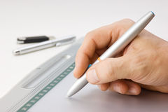 Men's hand draws Stock Image