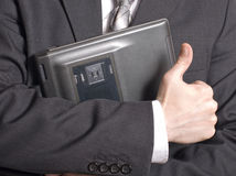 Men's hand with a laptop Royalty Free Stock Photos