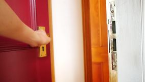 Men`s hand opens the door. Conceptual footage stock video