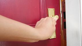 Men`s hand opens the door. Conceptual footage stock video footage