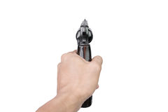 Men's hand with a Semi-automatic 9mm gun isolated on white background. Men's hand with a Semi-automatic 9mm gun isolated Stock Images