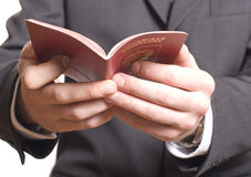 Men's hand showing  passport Royalty Free Stock Images