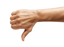 Men`s hand shows thumb down isolated on white background. Royalty Free Stock Photos