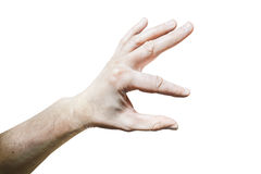 Men's hand with a stretched index finger and thumb on white back Royalty Free Stock Photos