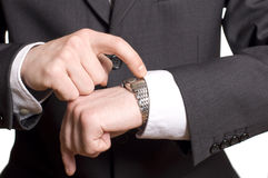 Men's hand with a watch. Royalty Free Stock Photography