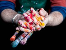 Free Men`s Hands Dirty From The Paint With Paint Brushes Royalty Free Stock Photo - 130218785
