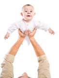 Men's hands hold the baby Royalty Free Stock Images