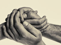 Free Men`s Hands Hold The Female Palms. Stock Photography - 84239572