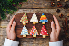Men's hands holding colored Christmas tree cookies Stock Photography