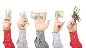 Men`s hands holding dollar bills with money on white background