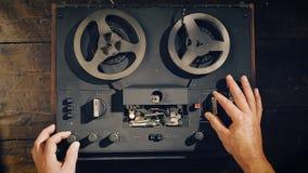 Old reel-to-reel tape deck stock video footage
