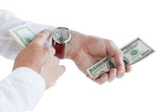 Men's hands with money Royalty Free Stock Image