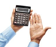 Men`s hands in shirt holding calculator isolated on white background. Close up. High resolution product stock images