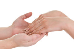 Men's hands supporting women's hands Royalty Free Stock Photos
