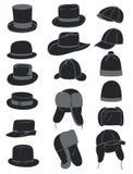 Men's hats. A set of men's hats,  illustration Stock Images
