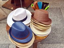 Hat for sale. Men`s hats for sale, part of a series Royalty Free Stock Photography