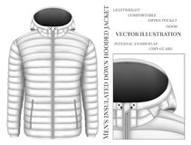 Men`s hooded insulated down jacket Royalty Free Stock Images