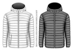 Men`s hooded insulated down jacket Royalty Free Stock Image