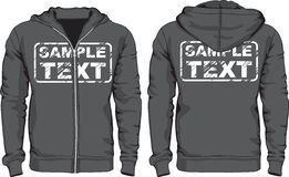 Men's hoodie shirts. Front and back views Stock Image