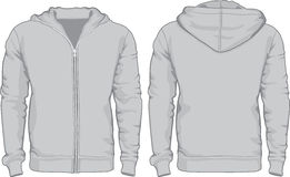Men's hoodie shirts template. Front and back views Royalty Free Stock Images