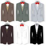 Men`s jacket. Ceremonial men`s suit, tuxedo. Vector illustration. Illustration set on white background Stock Images