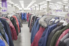 Men`s jackets. In the store Stock Images
