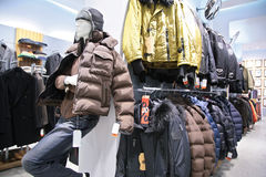 Men`s jackets in shop Stock Images