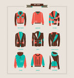 Men`s jackets, sweaters, and hoodies vector illustration. Collection royalty free illustration