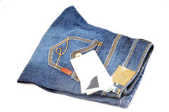 Men's jean with label. Isolated on white background Stock Images