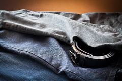 Men's jeans with belt Stock Photo