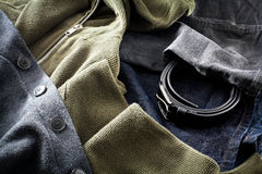 Men's jeans with belt and sweatshirts Stock Image