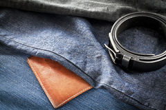 Men's jeans with belt and wallet Stock Image