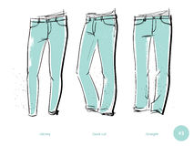 Men`s jeans fits Royalty Free Stock Photography