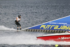 Men's Jump Action - Jason Seels. Image of Jason Seels of Great Britain competing in the Men's Jump Finals event at the 2009 Putrajaya Waterski World Cup, held at Royalty Free Stock Photo