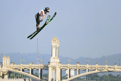 Men's Jump Action - Jason Seels. Image of Jason Seels of Great Britain competing in the Men's Jump Finals event at the 2009 Putrajaya Waterski World Cup, held at Stock Images
