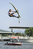 Men's Jump Action - Kyle Eade. Image of Kyle Eade of New Zealand competing in the Men's Jump Finals event at the 2009 Putrajaya Waterski World Cup, held at stock photography