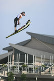 Men's Jump Action - Kyle Eade. Image of Kyle Eade of New Zealand competing in the Men's Jump Finals event at the 2009 Putrajaya Waterski World Cup, held at Stock Photo