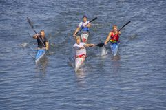 Kayakers are racing on the river stock photo