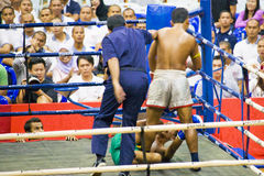 Men's Kick Boxing Action - Knock Down Royalty Free Stock Photography
