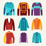 Men's knitted sweaters icon set Stock Images