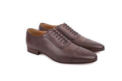 Men's lace-up dress shoes, designed with a slim elongated toe Stock Photo