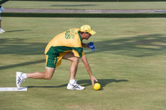 Men's Lawn Bowl Action. Image of an Australian player in action at the men's lawn bowls competition at the 13th Asia Pacific Bowls Championship 2009, held at the Stock Images