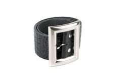 Men's leather belt. On a white background royalty free stock images