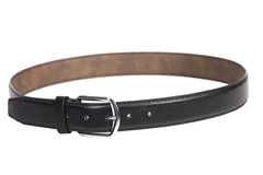Men's leather belt isolated on white background. Ens leather Trouser belt isolated on white background Stock Image