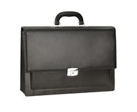 Men's leather briefcase. Men's black leather briefcase for documents Royalty Free Stock Images