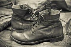 Men's leather fashion shoes. Autumn - spring shoes stock photo