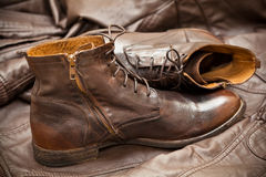 Men's leather fashion shoes. Autumn - spring shoes Royalty Free Stock Image
