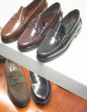 Men's leather formal shoes in store Stock Photography
