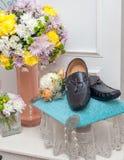 Men's Leather Loafer on Velvet Cushion as Wedding Gift Stock Photography